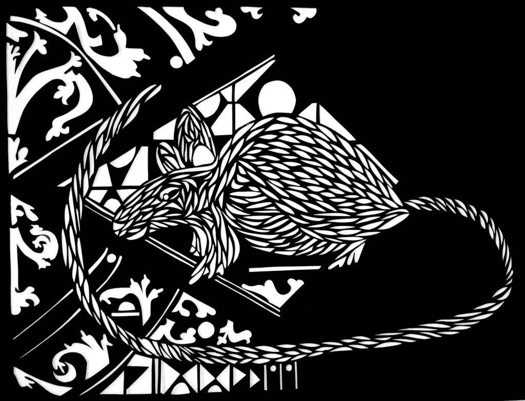 """The Black Rat"" light cutting by Chandra Brooks."